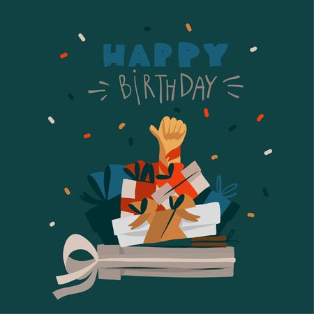 Hand drawn vector stock abstract graphic Happy Birthday illustrations card with handwritten text and many present surprise gift boxes isolated on black background.