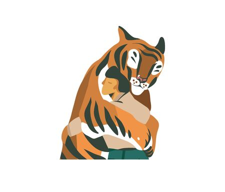 Hand drawn vector stock abstract graphic illustration with a man tiger trainer very tenderly loving hugs with a tiger isolated on white background.