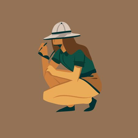 Hand drawn vector stock abstract graphic illustration with a girlgirl squatting and watching safari wildlife isolated on background.