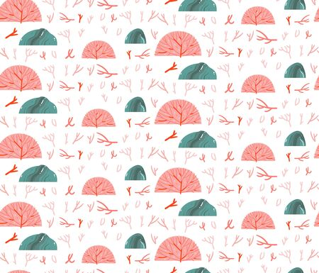 Hand drawn vector abstract cartoon graphic summer time underwater seamless pattern with coral reefs and stones in pink pastel colors isolated on white background