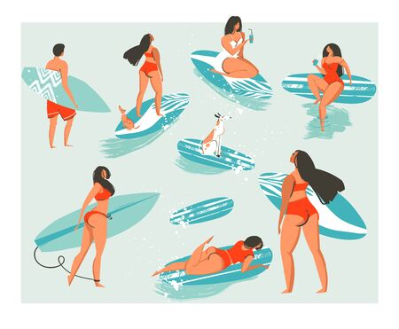 Hand drawn vector abstract collection of cute funny people in swimwear surfing in sea or ocean. Bundle of happy surfers in beachwear with surfboards isolated on white background. 向量圖像