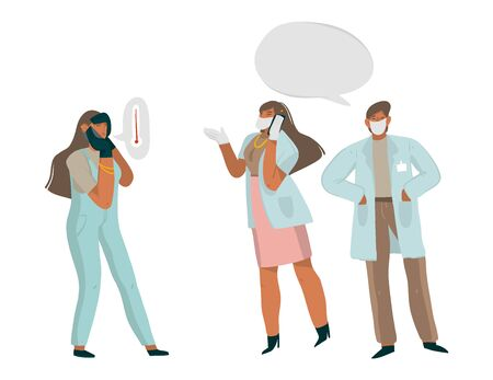 Hand drawn vector stock abstract graphic illustration with doctors who talk on the phone with an infected girl who has a high fever and give recommendations isolated on white background