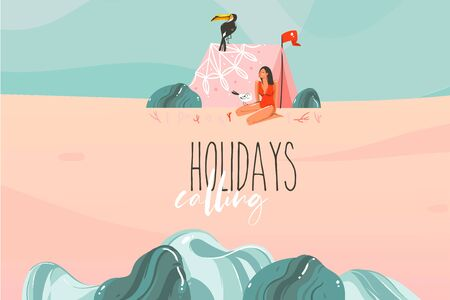 Hand drawn vector stock abstract graphic illustration with a sunbathing girl ,camp tent in ocean beach landscape and Holidays calling typography text isolated on colour background 向量圖像
