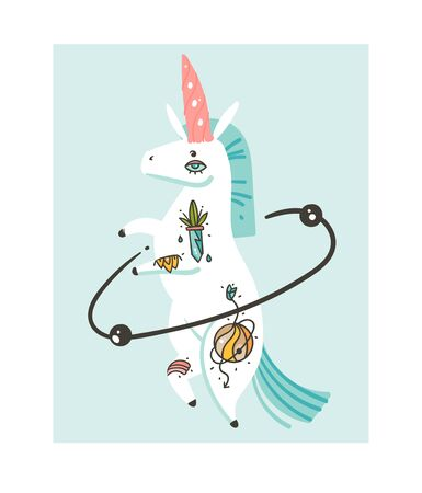 Hand drawn vector abstract graphic creative cartoon illustrations artwork with simple unicorn astronaut character with old school tattoo isolated on white background Ilustração