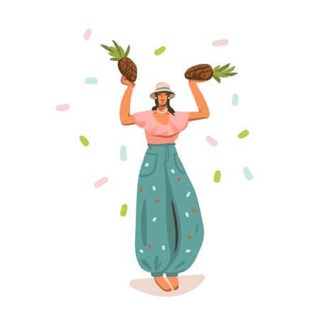 Hand drawn vector abstract stock graphic summer time illustration with young smiling female,dancing in fashion summer outfit with pineapples in panama hat isolated on white background