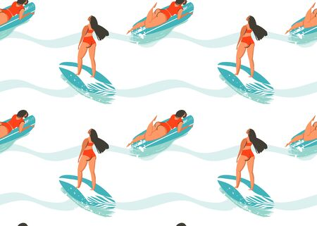 Hand drawn vector abstract summer time seamless pattern with surfers girl in bikini,surfboards and ocean waves texture isolated on white background