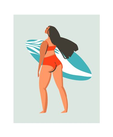 Hand drawn vector abstract cute summer time beach surfer girl illustration with red swimwear and surfboard isolated on blue background Иллюстрация