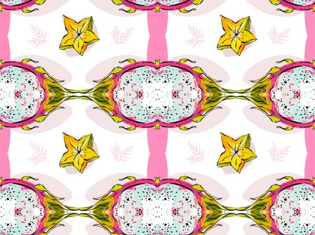 Hand drawn vector abstract artistic seamless pattern with tropical dragon fruit and freehand textures in pastel colors isolated on white background.