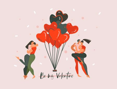 Hand drawn vector abstract cartoon modern graphic Happy Valentines concept illustrations art card with dancing couple people together and Be my Valentine text isolated on pink pastel background