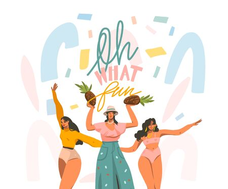 Hand drawn vector abstract stock graphic illustration with young smiling females dancing party at home and handwritten lettering quote Oh what fun isolated on white collage background Illustration