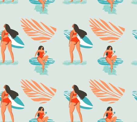 Hand drawn vector abstract summer time seamless pattern with surfers girl in bikini on the beach and tropical palm leaves isolated on blue background
