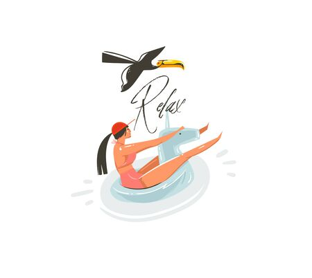 Hand drawn vector abstract cartoon summer time graphic illustrations art with beauty girl on unicorn float ring swimming on pool and Relax typography isolated on white background Illustration