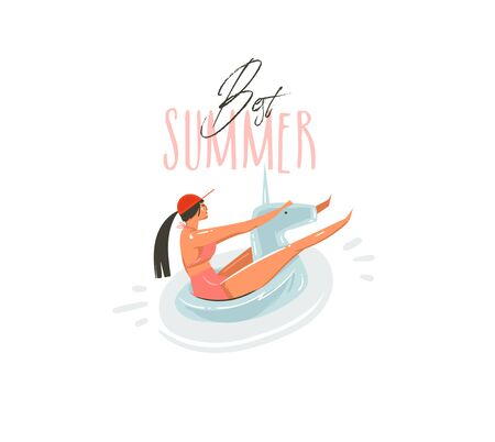 Hand drawn vector abstract cartoon summer time graphic illustrations art with beauty girl on unicorn float ring swimming on pool and Best Summer typography quote isolated on white background Illustration