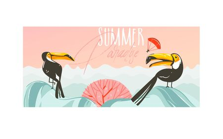 Hand drawn vector abstract cartoon summer time graphic illustrations art with beach sunset scene and tropical toucan birds with Summer Parsdise typography text isolated on white background Illustration