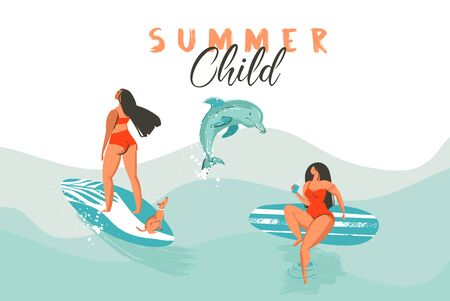 Hand drawn vector abstract summer time funny illustration poster with surfer girls in bikini with dog on blue ocean waves texture and modern calligraphy quote Summer Child