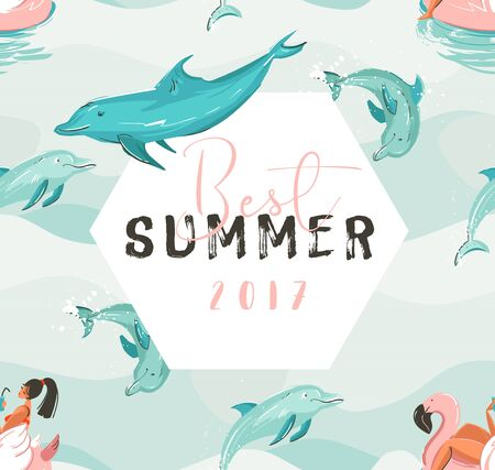 Hand drawn vector abstract cute summer time card with beach girl swimming on pink flamingo float circle, dolphins in blue ocean waves texture and Best summer typography.