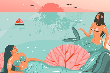 Hand drawn vector abstract cartoon summer time graphic illustrations template background with ocean beach landscape,sunset and beauty girls mermaid isolated on beach scene Illustration