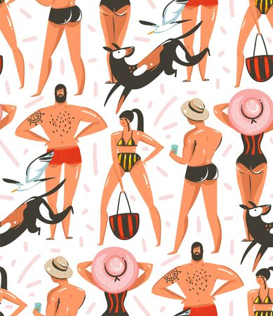 Hand drawn vector abstract graphic cartoon summer time collection flat illustrations seamless pattern with boys and girls characters on the beach with dogs and sea gulls isolated on white background Illustration