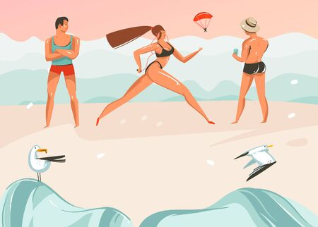 Hand drawn vector abstract cartoon summer time graphic illustrations art template background with ocean beach landscape,pink sunset,boys and running girl on beach scene Illustration