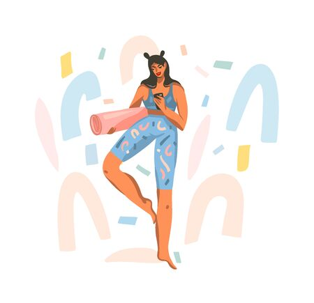 Hand drawn vector abstract stock graphic illustration with young happy female with a mat for yoga class watching a workout on the phone isolated on white background Illustration