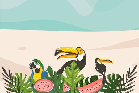 Hand drawn vector abstract cartoon summer time graphic illustrations art template background with ocean beach landscape,tropical palm tree and exotic toucan bird. Illustration