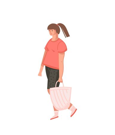 Hand drawn vector abstract cartoon graphic illustrations art with girl person with zero waste bag isolated on white background.