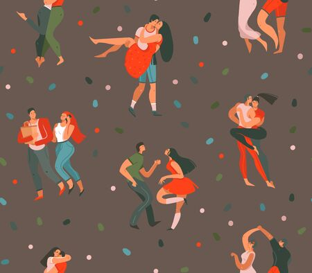 Hand drawn vector abstract cartoon modern graphic Happy Valentines day concept illustrations art seamless pattern with dancing couples people together isolated on brown color background