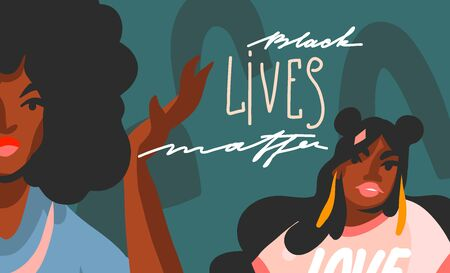 Hand drawn vector abstract stock graphic illustration with young black afro american beauty women and Black lives matter lettering isolated on color collage shape background.