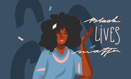 Hand drawn vector abstract stock graphic illustration with young black afro american beauty woman and Black lives matter lettering isolated on color collage shape background.