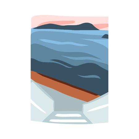 Hand drawn vector abstract stock flat graphic illustration with sundown beach scene on Greece isolated on white background Vettoriali