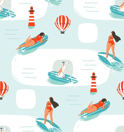 Hand drawn vector cartoon drawing summer time fun seamless pattern illustration with riding dogs and girls on surfboard isolated on blue background. Vettoriali