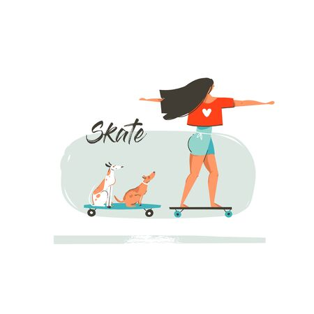 Hand drawn vector cartoon summer time fun illustration with young girl riding on long board,dogs on skateboards and modern typography Skate isolated on white background Vettoriali