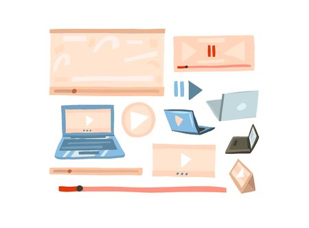 Hand drawn vector abstract stock flat graphic illustration vlog concept collection set with play video screen,laptop and tablet computer in simple collage style isolated on white background Vettoriali