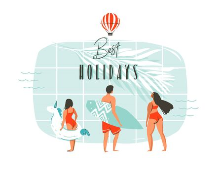 Hand drawn vector abstract summer time fun cartoon illustration with young happy family,swimming pool,tropical palm leaves,hot air balloon and modern typography Best holidays isolated on white