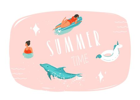 Hand drawn vector abstract summer time fun cartoon illustration with swimming people,surfer on longboard,unicorn float ring,dolphin and modern typography quote Summer time isolated on pink background.