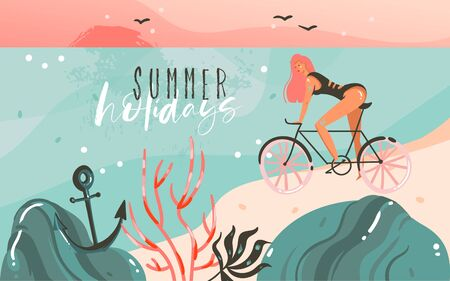 Hand drawn vector abstract cartoon summer time graphic illustrations template background with ocean beach landscape,sunset,beauty girl on bicycle and Summer Holidays typography quote text Vettoriali