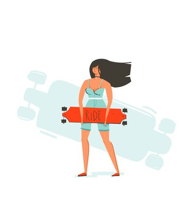 Hand drawn vector cartoon summer time fun illustration with young girl riding on long board isolated on white background