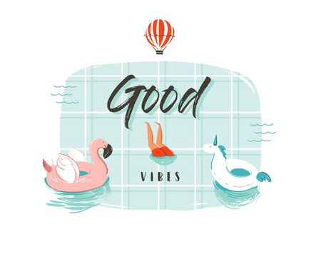 Hand drawn vector abstract cartoon summer time fun illustration with pink flamingo and unicorn buoy ring in swimming pool and modern typography quote Good vibes isolated on white background