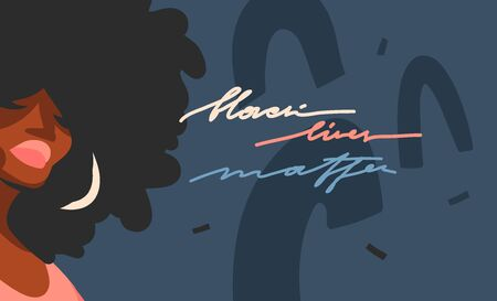 Hand drawn vector abstract flat stock graphic illustration with young black afro american beauty women,and Black lives matter handwritten lettering concept isolated on color collage shape background