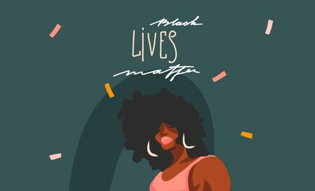 Hand drawn vector abstract stock graphic illustration with young black afro american beauty female and Black lives matter lettering isolated on color collage shape background Çizim
