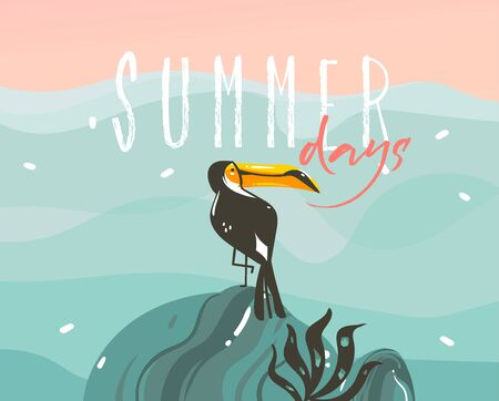 Hand drawn vector stock abstract graphic illustration with a tropical exotic toucan bird and typography Summer days text isolated on ocean wave landscape background Çizim