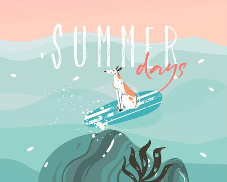 Hand drawn vector stock abstract graphic illustration with a surfing dog and typography Summer days text isolated on ocean wave landscape background Çizim