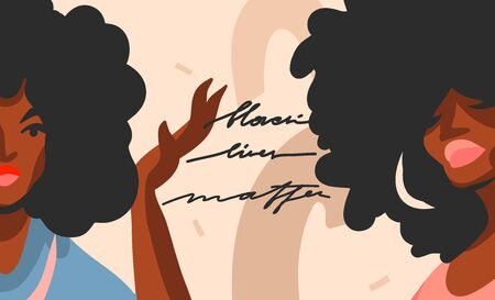 Hand drawn vector abstract flat stock graphic illustration with young black afro american beauty women,and Black lives matter handwritten lettering concept isolated on color collage shape background.