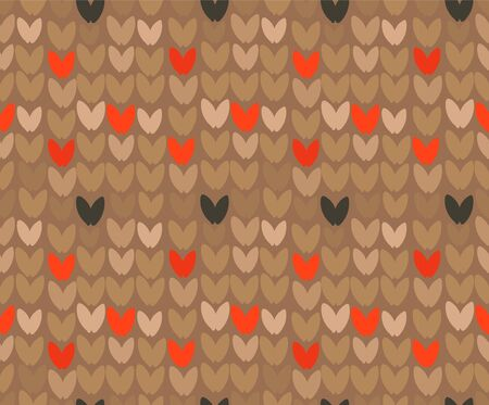 Hand drawn vector abstract cartoon Merry Christmas and Happy New Year holidays brown ornamental knitted seamless pattern design element Çizim