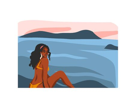 Hand drawn vector abstract stock flat graphic illustration with young happy black afro american beauty female,in swimsuit on sundown beach scene isolated on white background