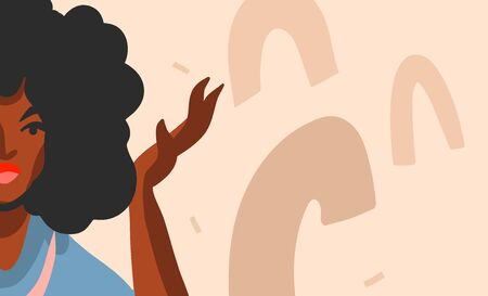 Hand drawn vector abstract flat stock graphic illustration with young black afro american beauty woman and copy space place isolated on color collage shape background.