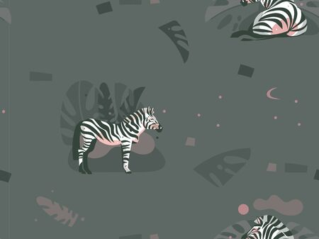 Hand drawn vector abstract modern graphic African Safari Nature ornamental tribal illustrations art collage seamless pattern with zebra animals and tropical palm leaves isolated on pastel background