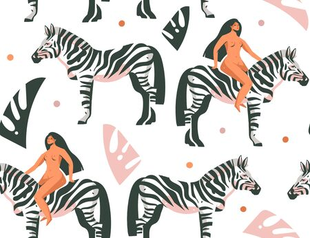 Hand drawn vector abstract cartoon modern graphic African Safari Nature concept collage illustrations art print with zebra animals in the wild and wild women character isolated on white background