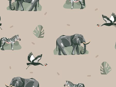 Hand drawn vector abstract modern graphic African Safari Nature ornamental illustrations art collage seamless pattern with zebra,elephant animals and tropical leaves isolated on pastel background