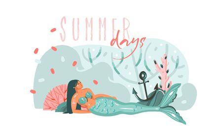 Hand drawn vector abstract cartoon graphic underwater illustrations poster with coral reefs,anchor,seaweed and beauty mermaid girl character with Summer days typography isolated on white background Çizim